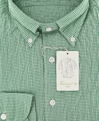New $375 Finamore Napoli Green Micro-Check Cotton Shirt - Extra Slim Fit - 16/41