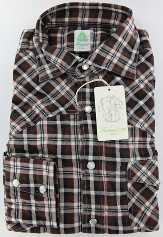 Finamore Napoli Brown Casual Shirt – Size: 16.5 US