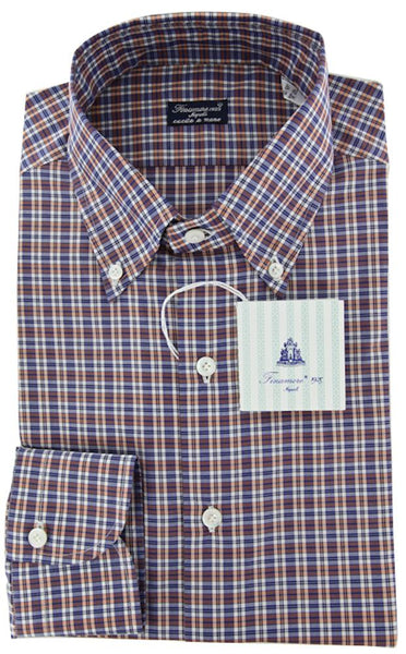 New $425 Finamore Napoli Orange White, Navy Blue Striped Shirt - Slim Fit- 16/41