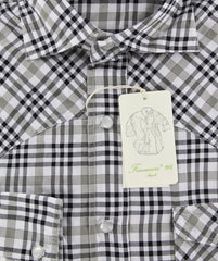 New $375 Finamore Napoli Beige Casual Plaid Twill Cotton Shirt -Extra Slim -15.5