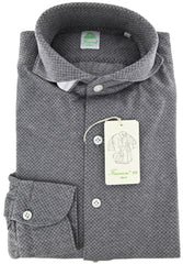 New $375 Finamore Napoli Gray Shirt S/S