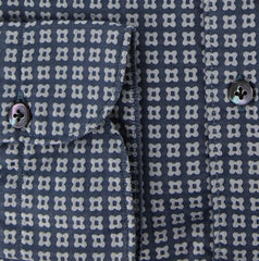 New $375 Finamore Napoli Navy Blue Foulard Cotton Shirt - Extra Slim Fit - 16/41