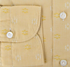 New $375 Finamore Napoli Yellow Fancy Weave Shirt M/M