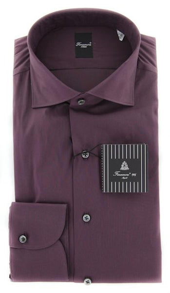 New $425 Finamore Napoli Purple Solid Shirt - Extra Slim Fit - 15.75/40