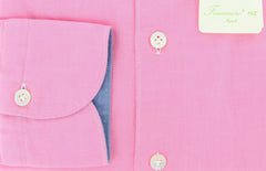 New $375 Finamore Napoli Pink Solid Twill Shirt - Extra Slim Fit - M/M