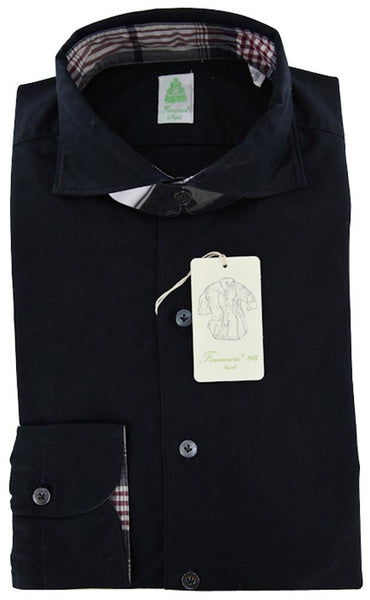 New $375 Finamore Napoli Navy Blue Solid Cotton Shirt - Extra Slim Fit - XL/XL
