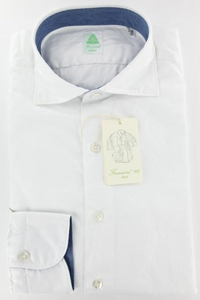 New $375 Finamore Napoli White Cotton Twill Shirt - Extra Slim Fit - XL/XL