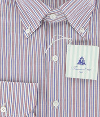 New $425 Finamore Napoli Red and Blue Striped Shirt - Slim Fit - 15.75/40
