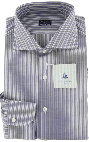 New $425 Finamore Napoli Gray Extra Wide Spread Collar Shirt 16/41