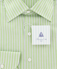 New $425 Finamore Napoli Green White, Blue Striped Shirt - Slim Fit - 16/41