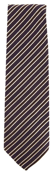 "New $195 Finamore Napoli Brown Striped Tie - 3"" x 56"" - (TIESTRX270)"