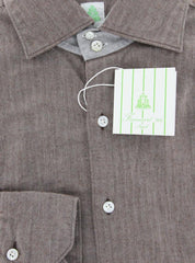 New $375 Finamore Napoli Brown Herringbone Shirt -Extra Slim Fit- 16/41