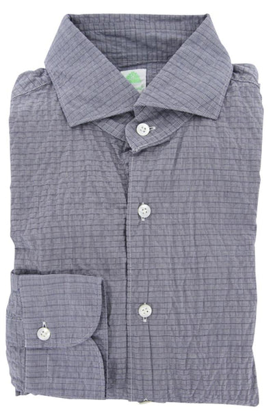 New $375 Finamore Napoli Blue Plaid Cotton Plain Weave Shirt 16/41