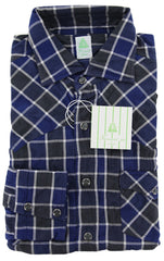 New $375 Finamore Napoli Blue Plaid Cotton Casual Shirt -Extra Slim Fit- 16