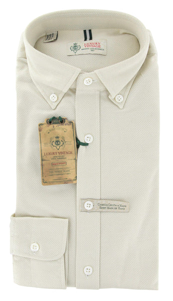 New $375 Luigi Borrelli Beige Casual Shirt Large - ** SALE **