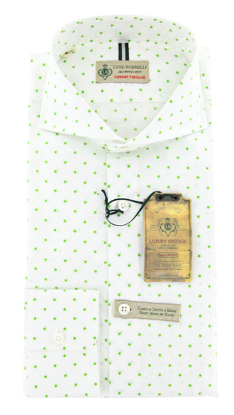 New $375 Luigi Borrelli Green Shirt M/M - ** SALE **