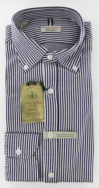 New $375 Luigi Borrelli Navy Blue Striped Casual Shirt - Extra Slim Fit - M/M