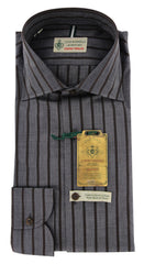 $375 Luigi Borrelli Gray Striped Cotton Shirt - Extra Slim - (GB4162) - Parent