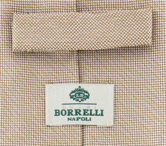 "New $195 Luigi Borrelli Brown - White Tie - 3.25"" x 59"""