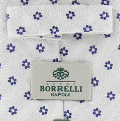 "New $195 Borrelli White with Blue Floral Tie - 2.75"" Wide"