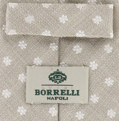 "New $195 Luigi Borrelli Beige and White Tie - 2.75"" Wide"