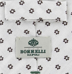 "New $195 Borrelli White with Brown Floral Tie - 2.75"" Wide"