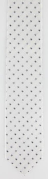 "New $195 Borrelli White with Gray Floral Tie - 2.75"" Wide"