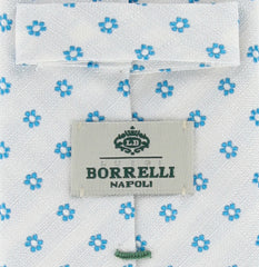 New $195 Borrelli White and Turqoise Blue Floral Tie - 2.75""