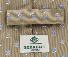 "New $215 Luigi Borrelli Brown Floral Tie - 3.25"" x 58"" - (TIEFLORX81)"