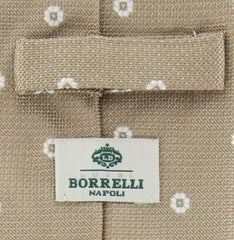"New $195 Luigi Borrelli Beige - White, Light Blue Tie - 3"" x 58.5"""