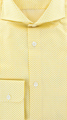 New $375 Luigi Borrelli Yellow Cotton Plain Weave Shirt -Extra Slim - L/L