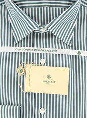 New $425 Borrelli Green Striped Shirt - Extra Slim - 15.75/40 - (EV2080MICHELE)