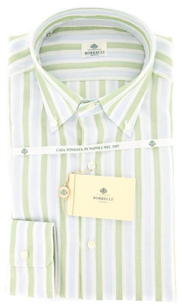 New $425 Luigi Borrelli Green Striped Shirt - Slim - 15.75/40 - (DR461RALPH)