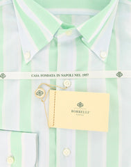 New $425 Luigi Borrelli Green Striped Shirt - Slim - 15.5/39 - (DR1581OVIDIO)