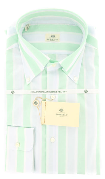 New $425 Luigi Borrelli Green Striped Shirt - Slim - 17.5/44 - (DR1581OVIDIO)