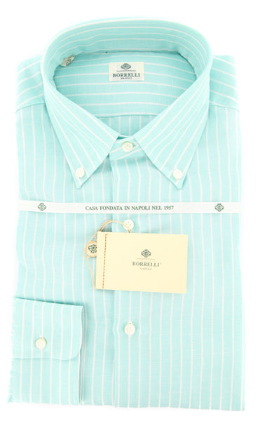 New $425 Luigi Borrelli Green Striped Shirt - Slim - 15.75/40 - (DR457RALPH)