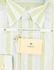 $425 Luigi Borrelli Green Striped Shirt - Slim - (GB5841) - Parent
