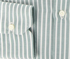 New $425 Borrelli Green Striped Shirt - Extra Slim - 16/41 - (EV5141ROY)