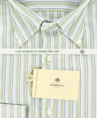 New $425 Luigi Borrelli Green Striped Plain Weave Shirt 15.5/39
