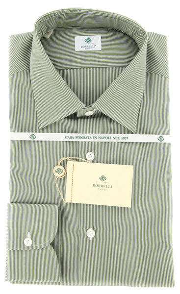 $425 Luigi Borrelli Olive Green Striped Shirt - Extra Slim - (GB5918) - Parent