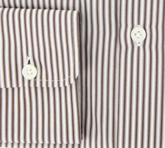 New $425 Luigi Borrelli Brown Striped Cotton Shirt 16/41
