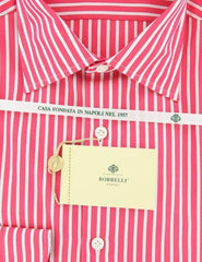 New $425 Luigi Borrelli Pink and Burgundy Striped Shirt - Extra Slim - 15.75/40