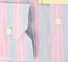 New $425 Luigi Borrelli Pink and Light Blue Striped Shirt 16/41