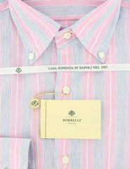 New $425 Luigi Borrelli Pink and Light Blue Striped Shirt 16.5/42