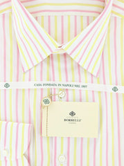$425 Luigi Borrelli Yellow Striped Cotton Shirt - Slim - (GB6165) - Parent