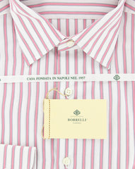 New $425 Luigi Borrelli Pink and Navy Blue Striped Shirt 17/43