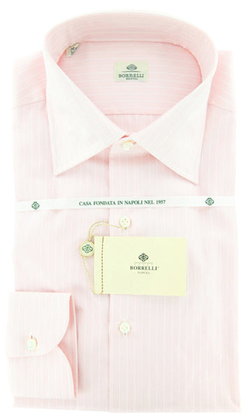 New $425 Luigi Borrelli Pink Shirt 17.5/44