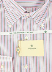 New $425 Luigi Borrelli Pink, Light Blue and Brown Striped Shirt 18/45
