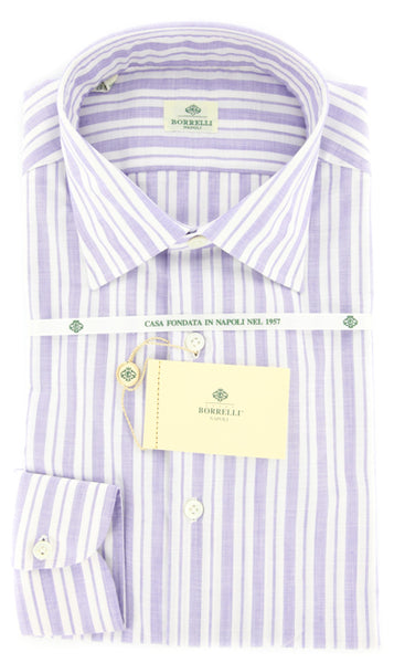 New $425 Luigi Borrelli Purple Shirt - Plain Weave with Natural Slubs - 15.75/40
