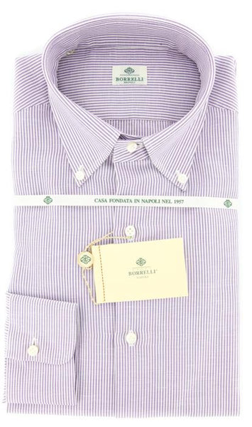 New $425 Borrelli Light Lavender Purple Button Down Shirt - Slim Fit - 17.5/44